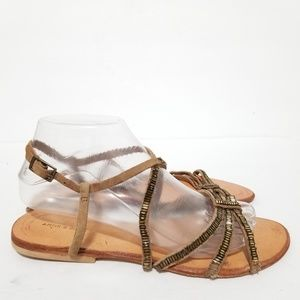 Antik batik size 8 leather beaded sandals